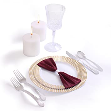 Signature Collection Premium China Like White/Gold 40 Pieces Plastic Plates Package Wedding and  sc 1 st  Amazon.com & Amazon.com: Signature Collection Premium China Like White/Gold 40 ...