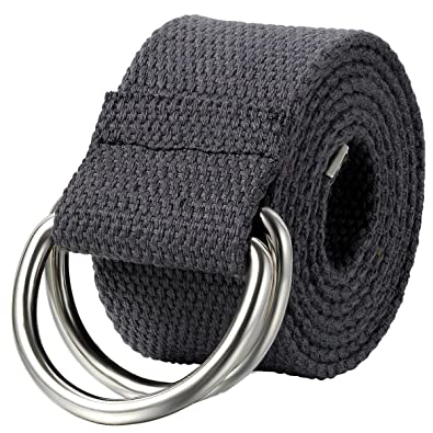 JewelryWe Schmuck Herren Damen Stoffgürtel, Einfarbig Casual D Ring Yoga Leinwand Textilgürtel Stricken Canvas Web Gürtel Belt, Grau