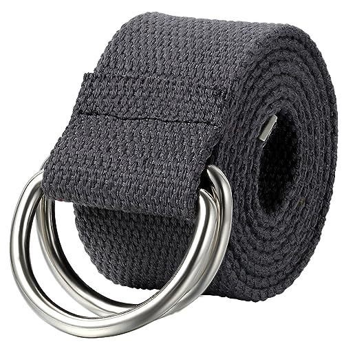Schlussverkauf Super Specials hell im Glanz JewelryWe Schmuck Herren Damen Stoffgürtel, Einfarbig Casual D-Ring Yoga  Leinwand Textilgürtel Stricken Canvas Web Gürtel Belt, Grau