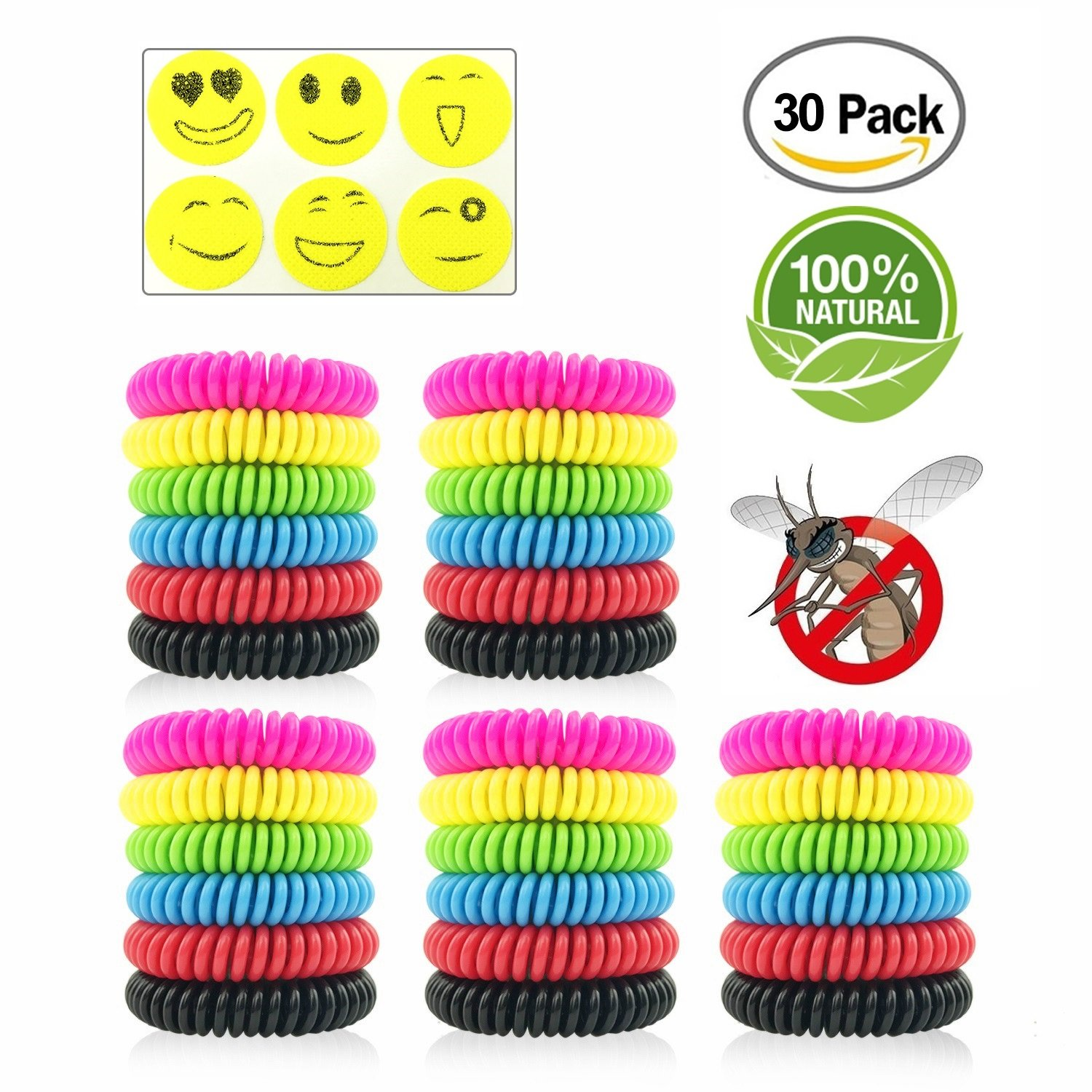 Sumpol Mosquito Repellent Bracelets 30 Pcs, Natural Waterproof Wristbands, Pest Bug Control Bands for Kids and Adults Outdoor Camping Fishing Traveling Swimming