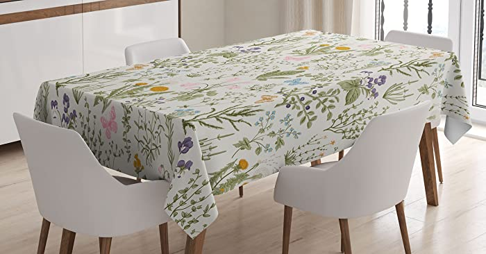 Ambesonne Floral Tablecloth, Vintage Garden Plants with Herbs Flowers Botanical Classic Design, Dining Room Kitchen Rectangular Table Cover, 60 W X 84 L Inches, Beige Reseda Green Pink Blue