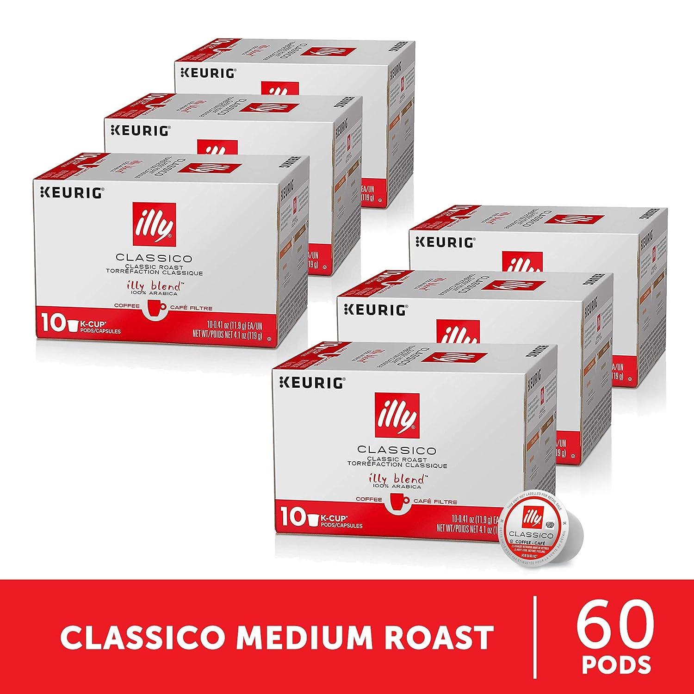 illy Coffee, Medium Roast, K-Cup for Keurig, 100% Arabica Bean Signature Italian Blend, Premium Gourmet Roasted Single Serve Drip Brewed Coffee,Made for Keurig K-Cup Brewers, 10 Count, Pack of 6