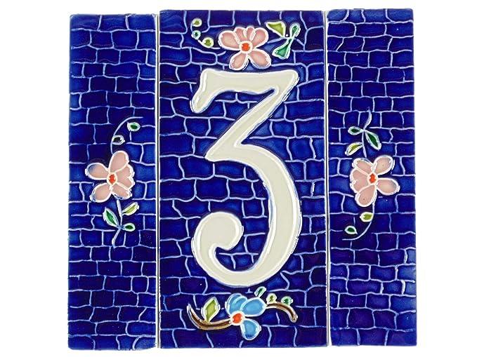 Numeri civici in ceramica numero civico ceramica blu tasselli con