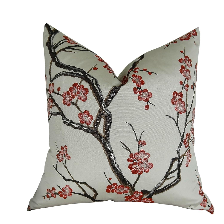 花柄投げ枕、装飾クッション、Japanese Blossomクッション、ホワイトグレーレッド花柄モダンアクセント枕、ハンドメイドin USA、トーマスコレクション11400 S....Double Sided 26