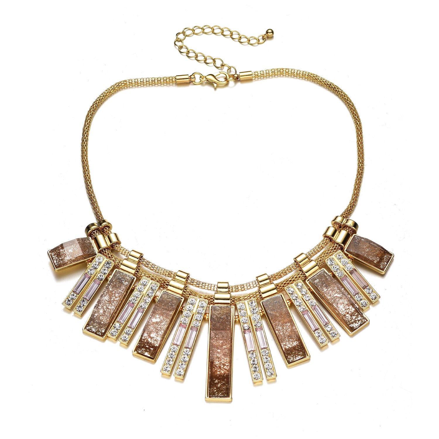 Fsmiling Vintage Gold Tone Collar Chain Geometric Stone Sparkly Crystal Statement Necklaces for Women (Brown Chunky Necklace)