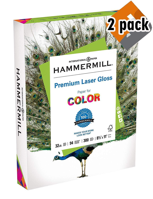 Hammermill Paper, Premium Laser Gloss Paper, 8.5 x 11 Paper, Letter Paper, 32lb Paper, 94 Bright, 2 Pack / 300 Sheets (163110R) Acid Free Paper
