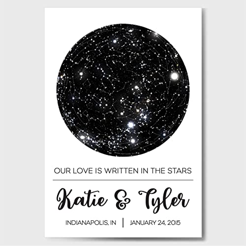 Custom Personalized Star Constellation Map Chart Engagement Anniversary Birthday Baby Wedding Present Cool Gift Idea Night Sky Poster