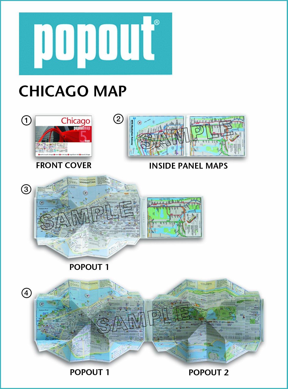 Chicago PopOut Map PopOut Maps Popout Maps - Chicago map amazon