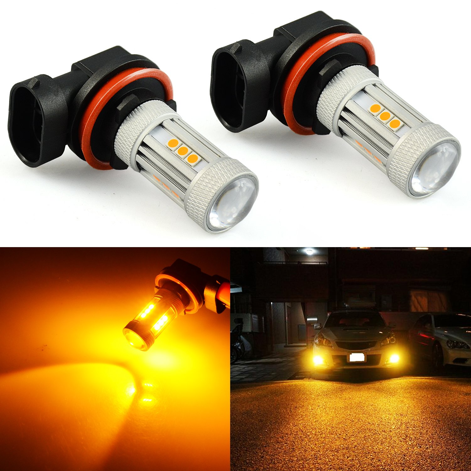 JDM ASTAR 2600 Lumens Extremely Bright 3030 Chipsets H11 Amber Yellow LED Bulbs for DRL or Fog Lights