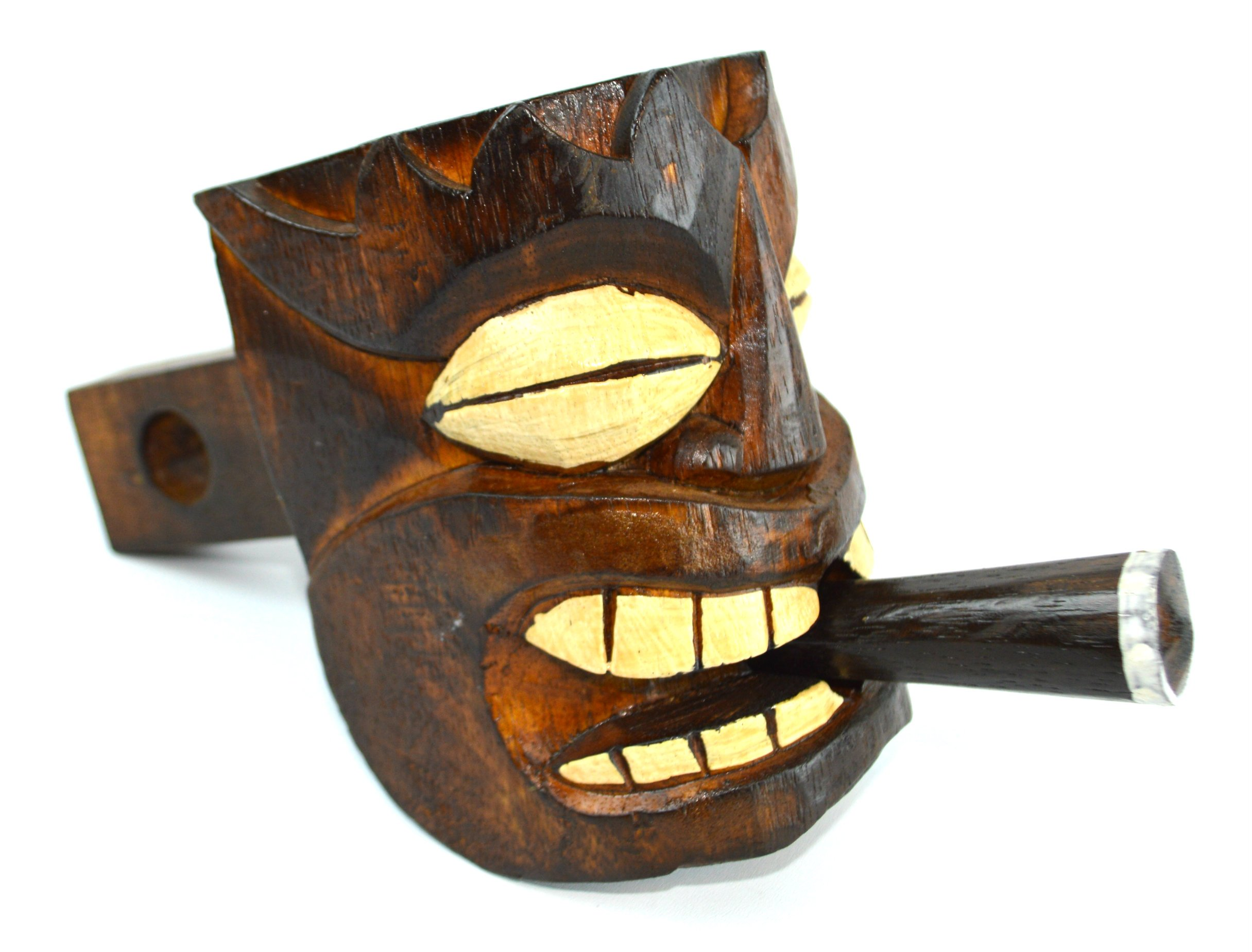WOOD TIKI HEAD MASK HITCH COVER, one of a kind design WITH CIGAR by WorldBazzar