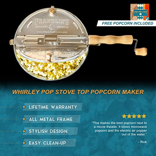 Franklin's Original Whirley Pop Stovetop Popcorn Machine Popper. Delicious Healthy Movie Theater Popcorn Maker. FREE Organic Popcorn Kit. Makes Popcorn Just Like the Movies.