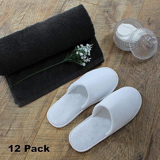 Bizarre.ly Zapatillas Desechables para Hombres y Mujeres - 12 Pares Pantuflas Spa Unisex Blanco Dos Tamaños Suaves Puntas Cerradas - Cómodas y ...