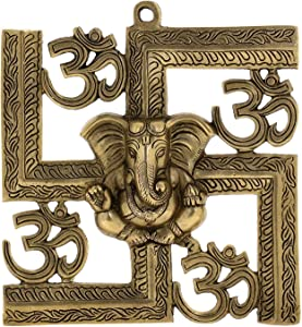 PARIJAT HANDICRAFT Brass Hindu Statue Ganesha Wall Decor Om Symbol Indian Ethnicity