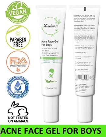KIRIKURA Vegan ACNE Face Gel for Boys,Acne gel with Salicyclic Acid and Cinnamon Bark Extract, Acne Scar for Boys.