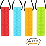 Sensory Chew Necklace Set BRICK (4-VALUE PACK) | Safe Calming Silicone Chew Toy for Autism, SPD, Biting, Teething & PDD | Fidget Toy for Boys and Girls with ADHD | TUFFBITE (Red/Blue/Orange/Green)
