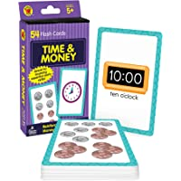 Carson Dellosa Time and Money Flash Cards—Kindergarten-Grade 3, Telling Time With Clocks, Counting Money With US…