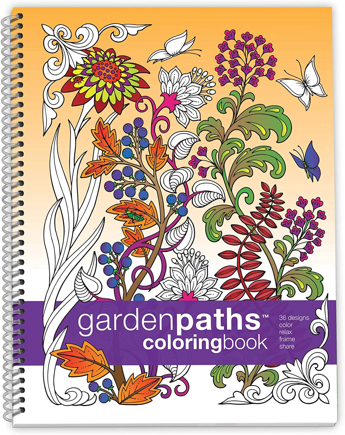 Action Publishing Coloring Book: Garden Paths · Garden Scenes and Intricate Animal Designs for Stress Relief, Relaxation and Creativity · Large Sidebound (8.5 x 11 inches)