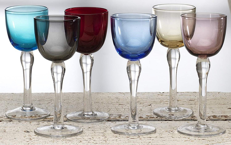 Circleware Splendor Multi Colored Cordial gafas con transparente tallos, Set de 6, 2 oz: Amazon.es: Hogar