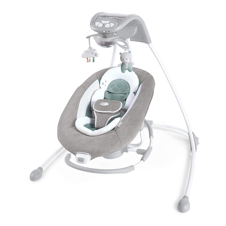 Ingenuity DreamComfort Inlighten Cradling Swing & Rocker - Foldable Plug-in Swing - Pemberton