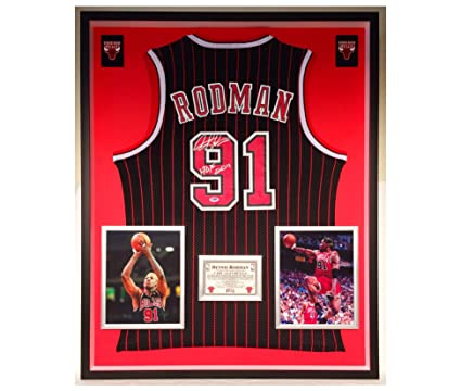 97ed45b9204 Image Unavailable. Image not available for. Color: Premium Framed Dennis  Rodman Autographed/Signed Chicago Bulls Official Adidas Jersey - PSA COA