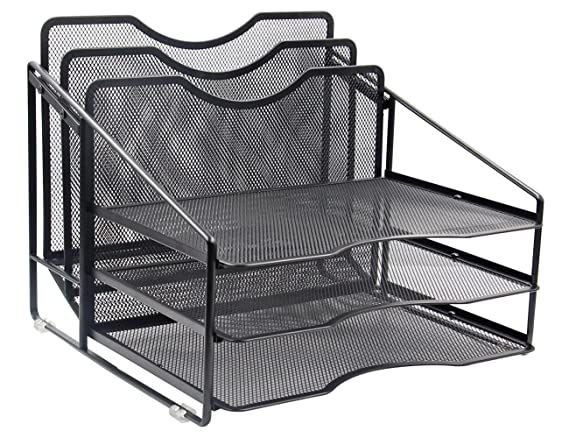 Amazon.com : EasyPAG Mesh Desk File Organizer Sorter with 3 Horizontal and 2 Upright Black : Office Products