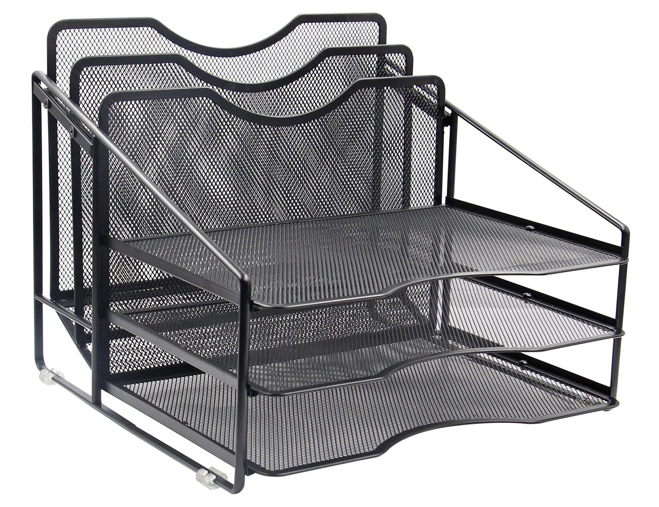 EasyPAG Mesh Desk File Organizer Sorter with 3 Horizontal and 2 Upright Black