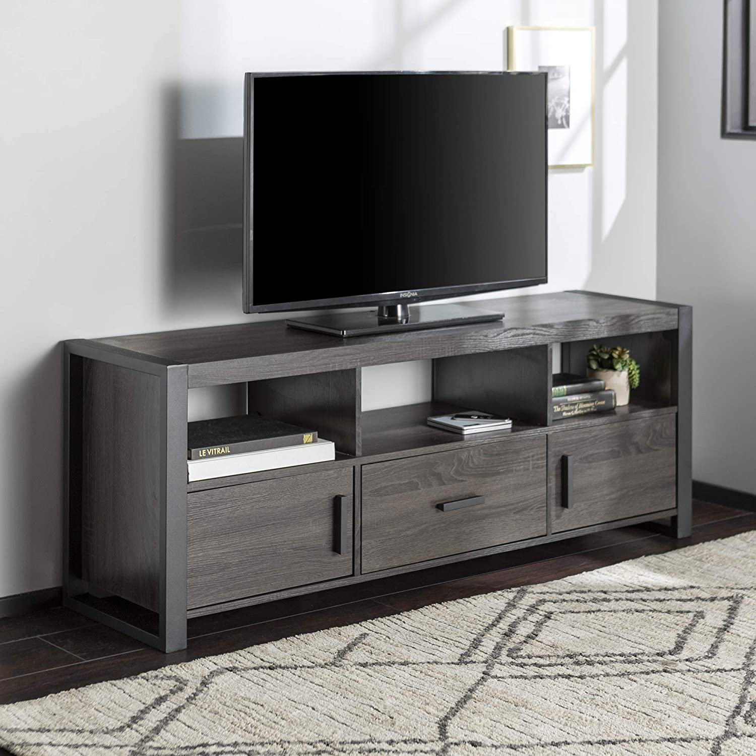 Walker Edison WE Furniture, TV Stand, Charcoal, 60 Inch