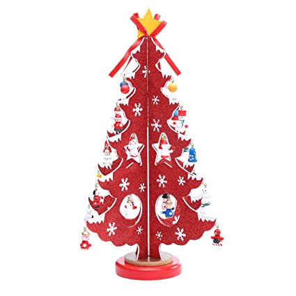 Amazon Com Gulute 14 Inch Wooden Tabletop Christmas Tree With 28