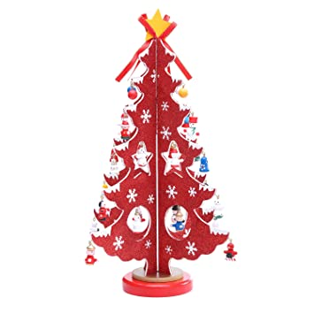 14 Inch Wooden Tabletop Christmas Tree With 28 Mini Ornaments For Christmas  Decorations