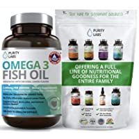 Triple Strength Omega 3 Fish Oil Supplement 3,000MG. Highest Quality and Potency Available - 180 Softgels - Rich in EPA 915mg + DHA 630mg - Burpless Non-GMO NSF-Certified, Heart & Brain Support