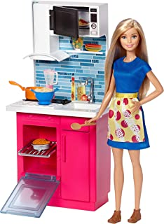 Amazon Com Barbie Stovetop To Tabletop Deluxe Kitchen And Doll Set Toys Games