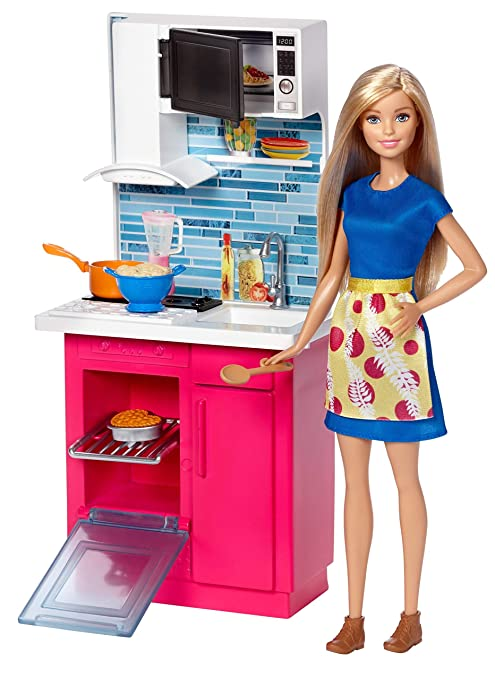 Amazon Com Barbie Kitchen And Doll Toys Games
