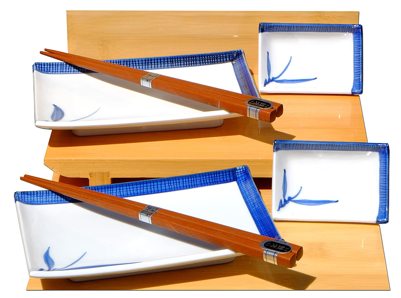 Bambù Blu in ceramica set per Sushi giapponese per due Gifts Of The Orient GOTO