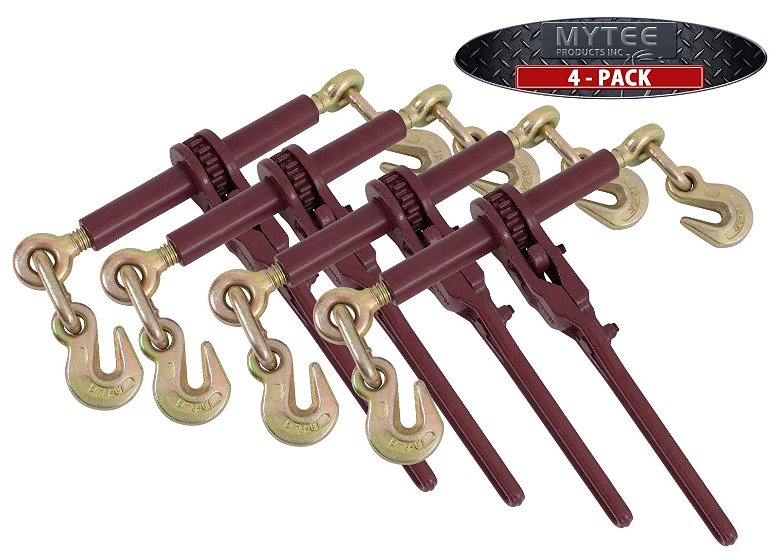 Mytee Products 4 Pack 5//16-3//8 Tow Chain Ratchet Load Binder Extreme 7100WLL Flatbed Transport Hauling