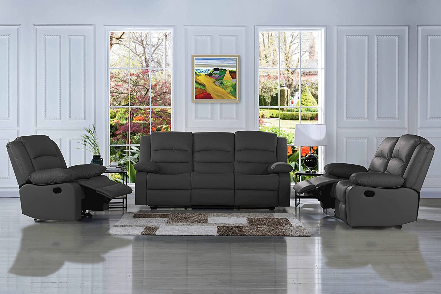 Classic Reclining Sofa Set - Real Grain Leather Match- Double Recliner, Loveseat, Single Chair (Grey)