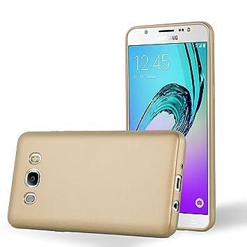 Cadorabo Carcasa Compatible con Samsung Galaxy J5 2016 (6) Funda en metálico Oro Funda Carcasa de TPU Silicona en Mate Metallic Carcasa de Silicona