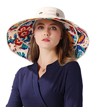 466447ab5 iHomey Packable Shapeable Extra Large Brim Floppy Sun Hat Reversible UPF  50+ Beach Sun Bucket Hat