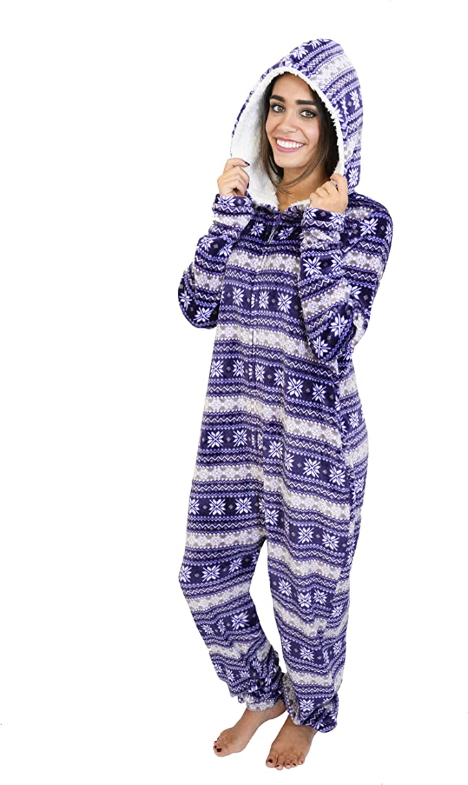 Cherokee Women's Adult Hooded Sleepwear Onesies, fair Isle, Medium