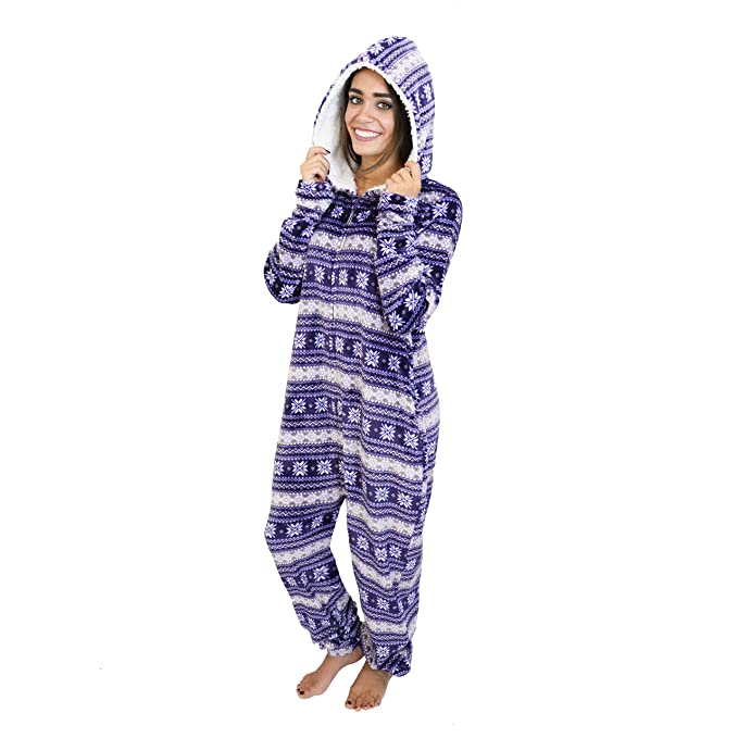 Cherokee Women's Adult Hooded Sleepwear Onesies, fair Isle, Large best women's winter pajamas
