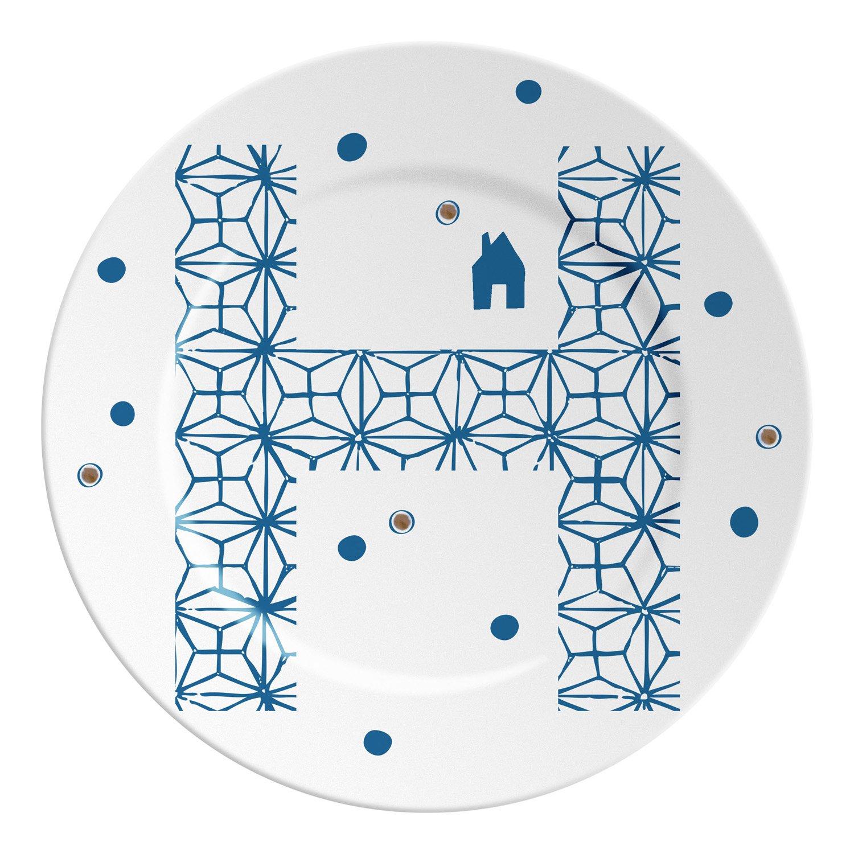 Ilaria.I ABC.SP.H Plato con Letra, Porcelana, Azul/Dorado, 16x 16x 1.5cm