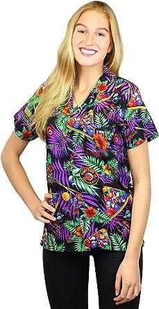 Original King Kameha | Funky Camisa Hawaiana Mujeres | XS-6XL | Manga Corta Bolsillo Delantero| impresión De Hawaii| Billar de la Piscina |Negro: Amazon.es: Ropa y accesorios
