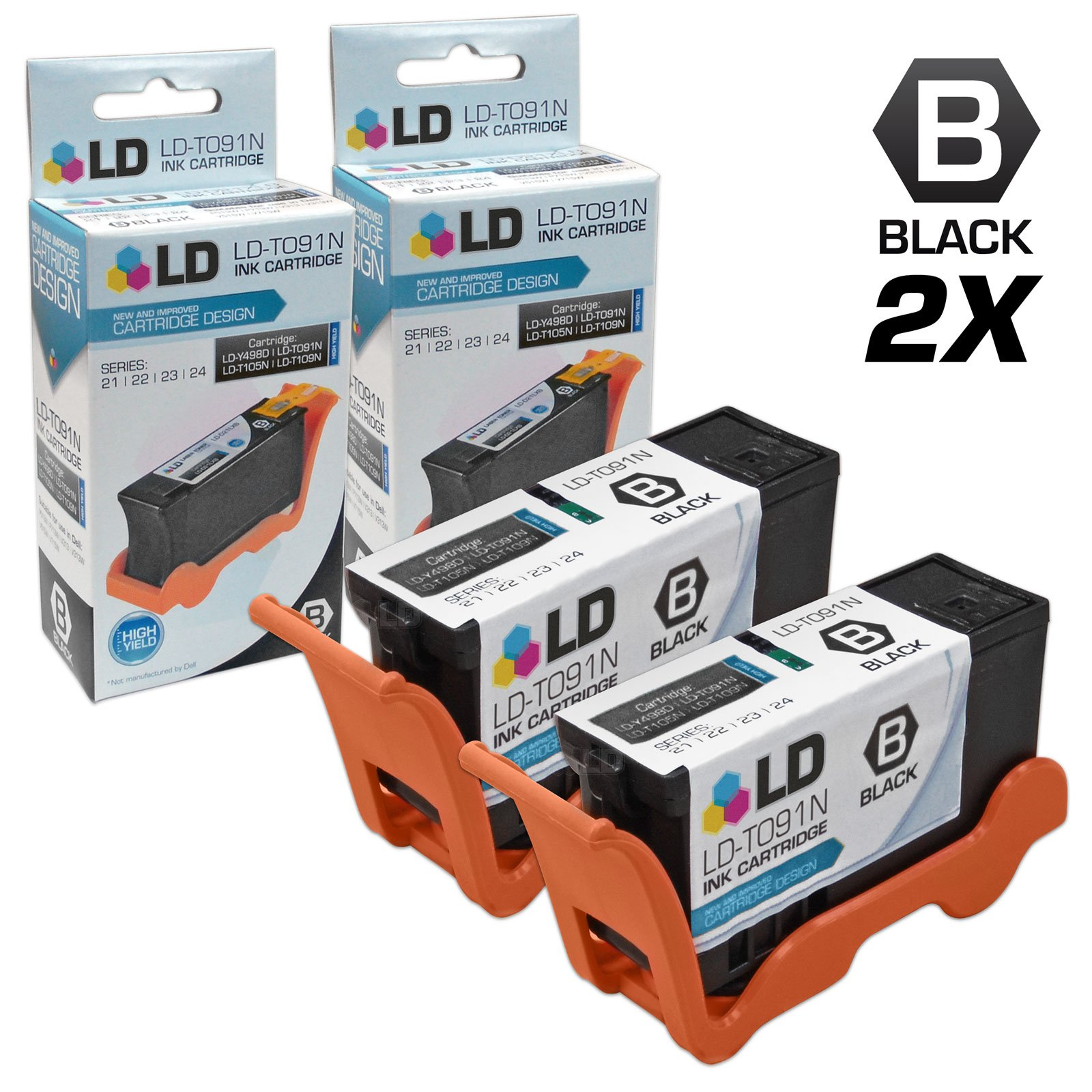 LD Compatible Replacements for Dell T091N (Series 22) Set of 2 High Yield Black Inkjet Cartridges for use in Dell Photo all-in-one P513w, V313, and V313w Printers