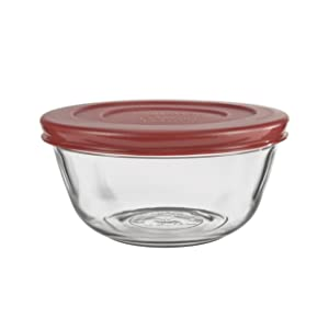 Anchor Hocking Glass Mixing Bowls with Lids, Cherry, 1.5 Quart (Set of 2)