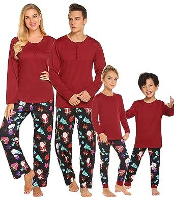 62d9138808 Ekouaer Christmas Long Sleeve Pj Nightsuit with Pants Family Pajama Set  Soft Lounge Wear