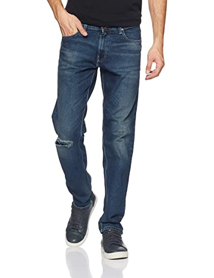 United Colors of Benetton Men s Straight Fit Jeans (18A4L23R9039I Blue 28W  x ... 60e6f1ed3575