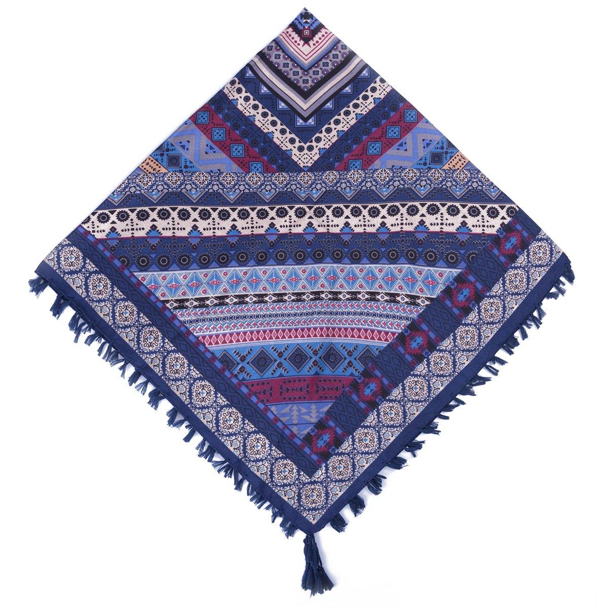 EVRFELAN Women Boho Scarf Tassel Shawl Tapestry Tablecloth Beach Towel Picnic Throw Wall Hanging Yoga Mat Ladies Cotton Scarves by Popular Handicrafts (Blue2)