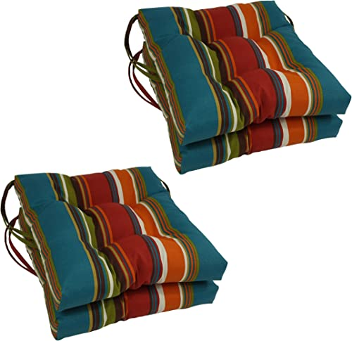 Blazing Needles Spun Polyester Patterned Outdoor Square Tufted Chair Cushions Set