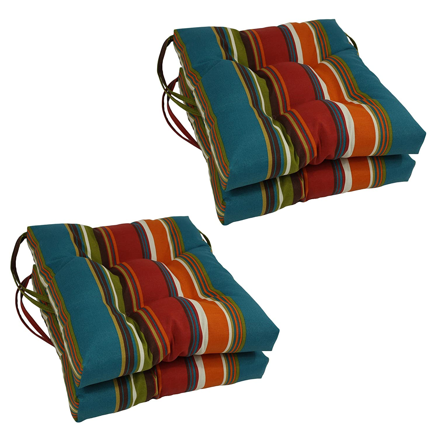 Blazing Needles Spun Polyester Patterned Outdoor Square Tufted Chair Cushions Set, Set of 4, 16 , Westport Teal