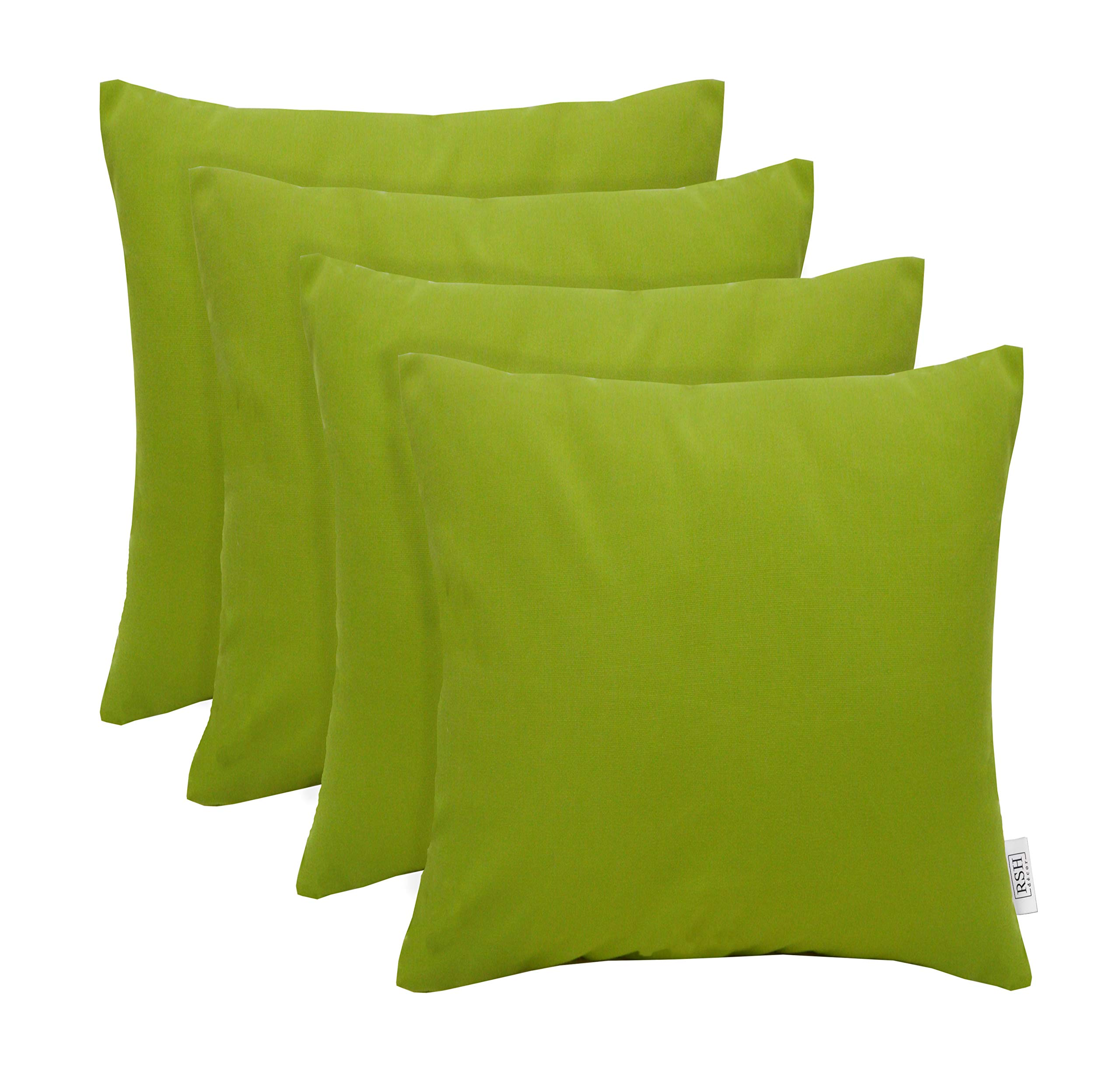 RSH Décor Set of 4 Indoor/Outdoor Square Throw Pillows Sunbrella Canvas Macaw Green (20'' x 20'')
