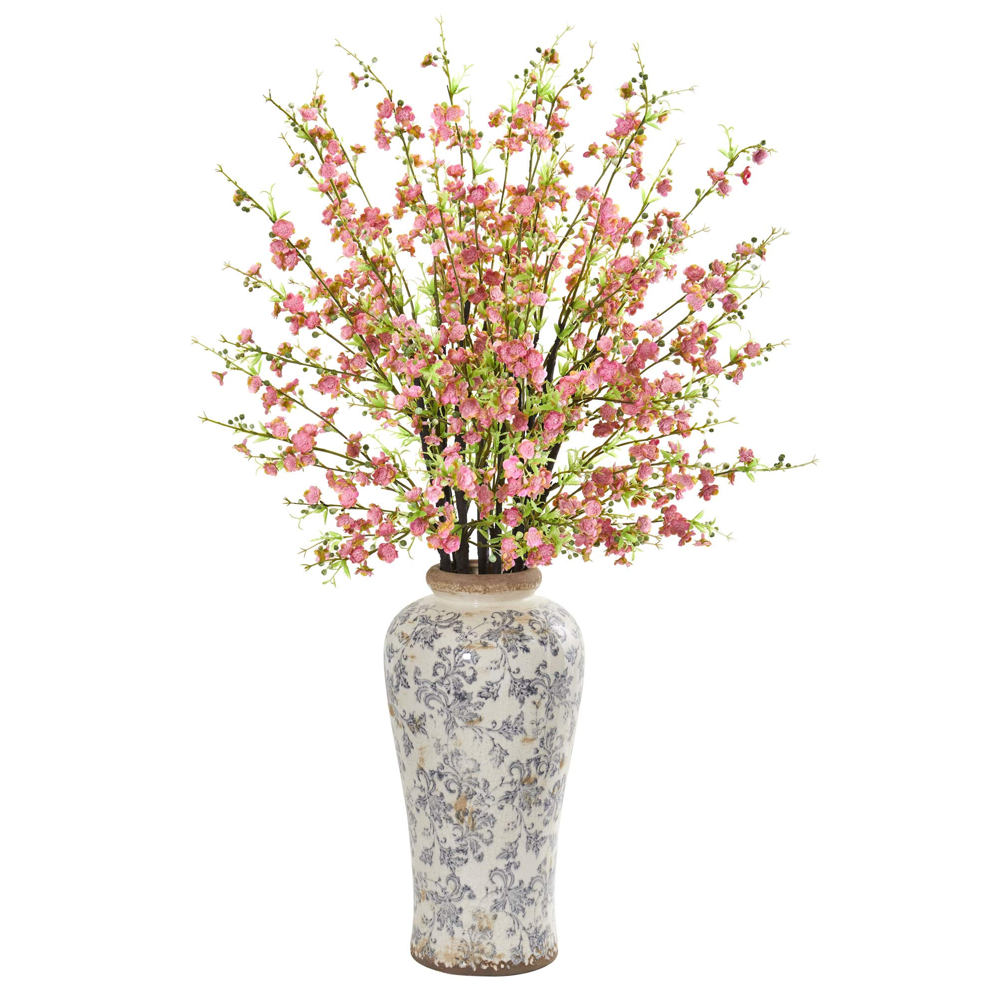 "Nearly Natural 1888-PK 37"" Cherry Blossom Artificial Decorative Vase Silk Arrangements Pink"